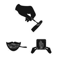 Manipulation by hands black icons in set vector