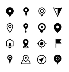 map location icons set 16 pointers symbols vector image