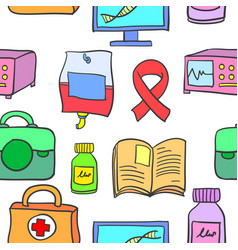 Medical object doodles vector