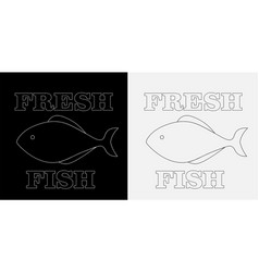 Minimalistic logo fresh fish on a black and vector
