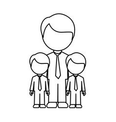 Monochrome contour with father and sons in suit vector