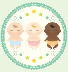 Multicultural babies sleeping vector