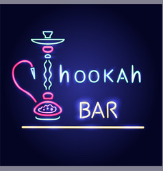 Neon sign of hookah bar glowing icon image vector