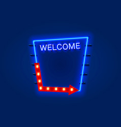neon welcome open signboard on blue background vector image