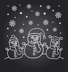 New year chalkboard card with the family of snowme vector