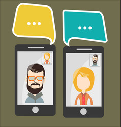 online chat man and woman 2 vector image