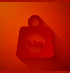 Paper cut weight pounds icon isolated on red vector