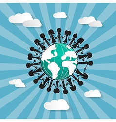 People Holding Hands Around Globe vector image