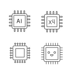 Processors linear icons set vector