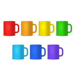 realistic detailed 3d color blank cup template vector image
