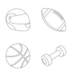 Red protective helmet rugby ball basketball ball vector