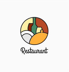 restaurant logo with wine glass and plate vector image