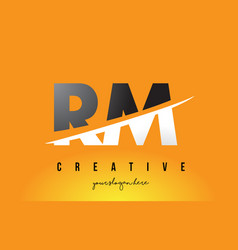 Rm r m letter modern logo design with yellow vector