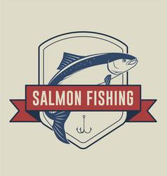 salmon fishing badge vector image