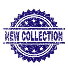 Scratched textured new collection stamp seal vector