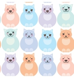 set funny cats pastel colors on white background vector image