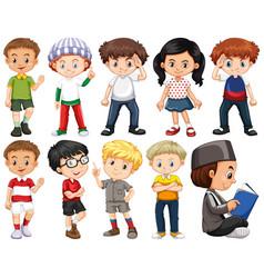 Set happy children in different costume vector
