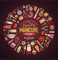 set manicure cartoon doodle objects vector image