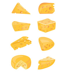 set of cheeses collection of cartoon cheeses vector image