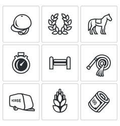 Set of Equestrian Sport Icons Jockey cap vector image