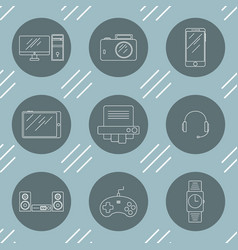 set of icons with an image of electronics vector image