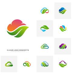 set of nature cloud logo design concept cloud vector image