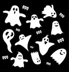 Set of scary white ghost characters vector