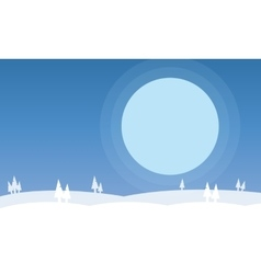 Silhouette of hills on snow scenery vector