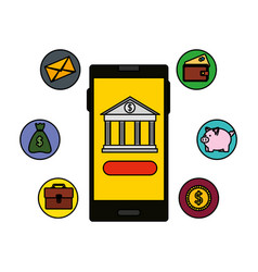 Smartphone with bank building app and ecommerce vector