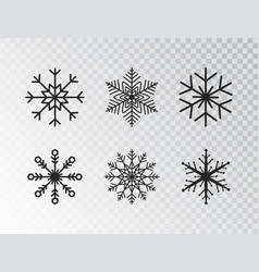 Snowflakes collection isolated on transparent vector
