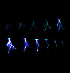 Sprite sheet with lightnings for game animation vector