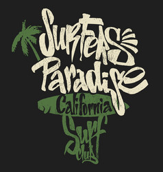 surf paradise lettering t-shirt graphics vector image