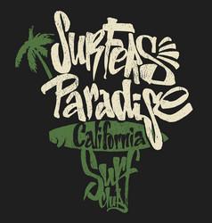 Surf paradise lettering t-shirt graphics vector