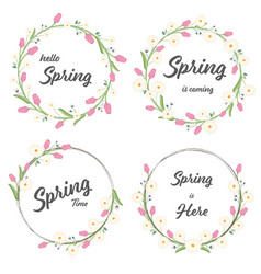 tulip and daisy spring wreath collection eps10 vector image