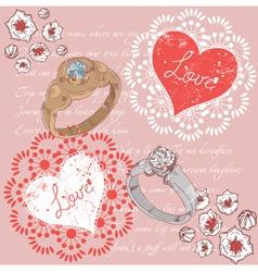Valentine romantic retro greeting postcard vector image
