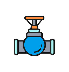 Valve tap pipe connector flat color line vector