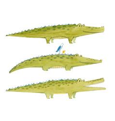 Watercolor crocodile set vector