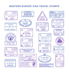 Western europe common travel visa stamps set vector