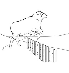 white background black lines the sheep jumps vector image