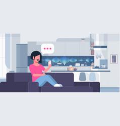 woman using smartphone smart speaker voice vector image