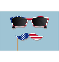 Glasses and mustache design of the american flag vector