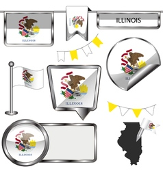 Glossy icons with Illinoisan flag vector image vector image