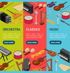 music instruments banner vecrtical set set vector image