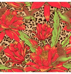 Seamless floral pattern on leopard background vector image