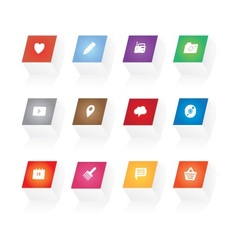 3d button icons vector image vector image