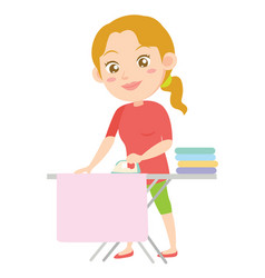 character of housewife ironing design style vector image
