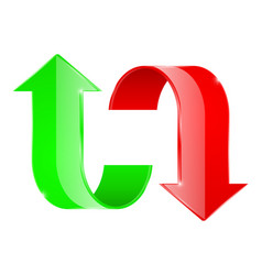 Curved arrows up and down red and green vector