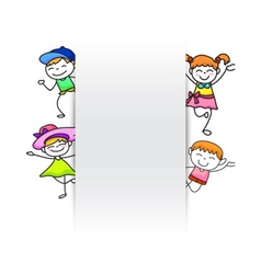 Happy kids hand drawing kids with blank paper vector