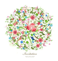 Round pattern of beautiful flowers for your design vector image vector image