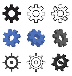 Set of nine gears isolated vector image vector image